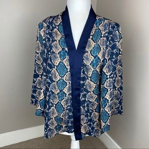 GUESS BLUE CREAM SNAKE PRINT OPEN FRONT BLOUSE